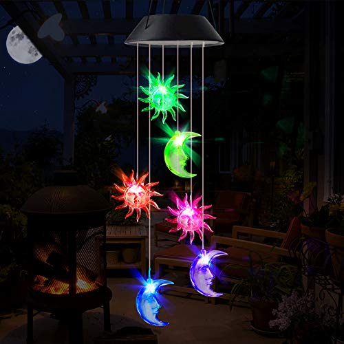 Aceshop Solar Windspiel Licht, Farbwechsel LED Solarleuchten Mobile Wasserdicht Solarbetriebene Hängelampe für Haus/Party/Patio/Nacht Garten Dekoration