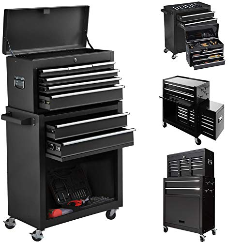8-Drawer High Capacity Tool Chest,Rolling Tool Chest with Lock, Tool Box with Sliding Drawers and 4 Wheels,Tool Storage Cabinet Removable Portable Box for Garage and Warehouse (Cool Black)