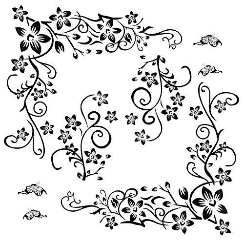 2set Wandtattoo Blumenranke Schwarz Rebe Wandsticker Blumen Schmetterlinge Pflanzen Aufkleber-Wand-Deko für TV Hintergrund Deko Wohnzimmer Wand Fenster Abziehbilder (Wandtattoo Blumenranke)
