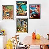 VVSUN Carteles e Impresiones artísticos de Pared Vintage Cuba Habana Pintura Cuadros de Pared Sala de Estar decoración del hogar 30X42cmx4 sin Marco