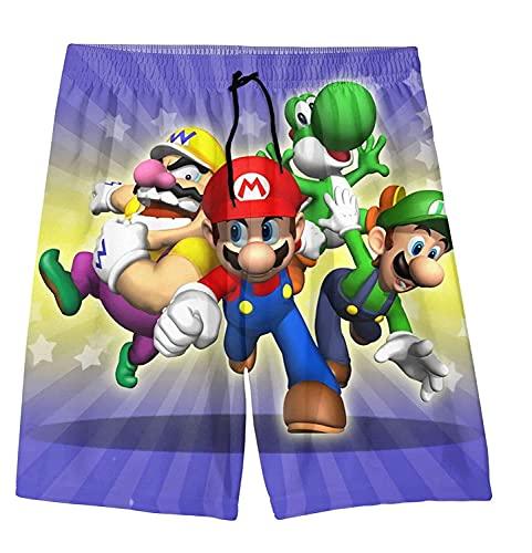 AMCYT Mario Surfshorts, Super Mario Boys Teens Badehose Schnell trocknende Badeanzüge Strandbrett Surfshorts (Mario1,120)