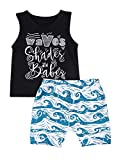 Baby Boy Clothes Waves Shades and Babes Print Summer Black Sleeveless Tops and Wave Short Pants Outfits 18-24months