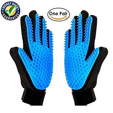 Meetest [Upgrade Version] Pet Grooming Glove-Massage Tool Cleaning Shower Gentle Deshedding Brush Hair Remover Mitt with Enhanced Five Finger Design Long & Short Fur Comb for Dogs/Cats One Pair