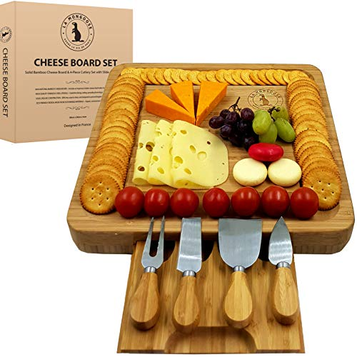 Modern Cheese Board & Knife Set with Hidden Drawer, 4 Stainless-Steel Serving Utensils Cracker Groove Large Square Cutting Plate Natural Organic Bamboo Wood Serving Dish Platter. Perfect Festive Gift