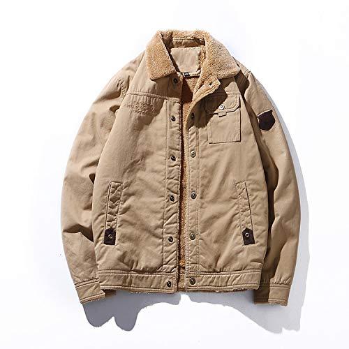 Men 'S Thickening Warm Cotton Jacket Style Plus Denim Jacket Men's Padded Thick Warm Korean,Khaki,XL