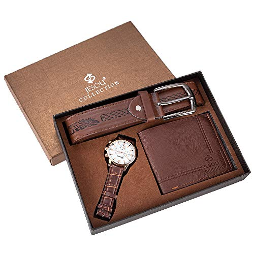 Moshbu Geschenk-Set für Herren, 3-teilig, mit Geldbörse/Uhr/Gürtel/mit Box, Geschenke für Männer