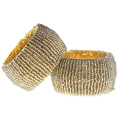 MACOSA WV47217 Serviettenringe Rund 6er Set Gold mit Glasperlen 4,5 cm Festliche Tischdekoration Servietten-Halter Tischset Dinner Tisch-Deko modern