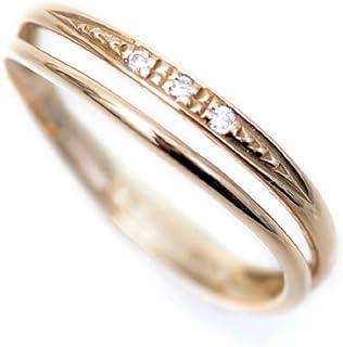 k18PG ピンクゴールドリング 天然ダイヤモンド ピンキーリング 2連調ウェーブ デザイン 18金 リング 小さいサイズ 指輪 k18 ダイヤリング (1)