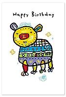 小西慎一郎 ベニヤアニマルポストカード/メッセージカード[Happy Birthday アニマル/ブタ]