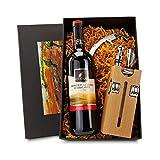 Monsterzeug Sommelier Set mit Weinflasche, Weingeschenkbox, Sommelier Set Holzblock Buche, Geschenke für Weinliebhaber, Weinzubehör, Dekantier Set