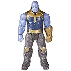 12-inch-scale Thanos figure with movie-inspired design. Connect Titan Hero Power FX pack to activate sounds & phrases (not included; sold separately with Titan Hero Power FX figures) Includes Titan Hero Power FX connection port Inspired by Avengers: ...