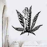 HGFDHG Moda Creativa Pared de Vinilo Hermosa niña Palma Etiqueta de la Ventana mar Playa Vacaciones hogar Arte Dormitorio decoración Mural Papel Tapiz