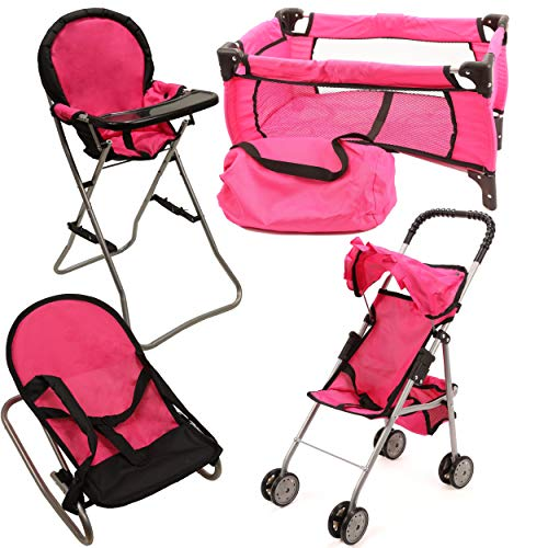 Mommy & Me Doll Collection 4 In 1 Baby Doll Accessories Mega Deluxe Playset with Doll Stroller, Doll High Chair, Doll Bouncer, and Doll Pack N Play Baby Doll Crib, Fits 18 Inch American Girl Doll, Pink