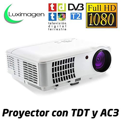 Proyector Full HD 1080P, LUXIMAGEN HD520 (2020 NUEVO), Proyector barato maxima luminosidad Portátil LED Cine en casa 1920x1080 AC3 2 x HDMI TV TDT USB para PS4,XBOX,Switch,televisión TDT HD integrado