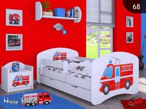 HB Kinderbett mit Matratze und Bettkasten - NEU , Verschiedene Motive Weiss (160x80cm mit Schublade, FEUERWEHR)