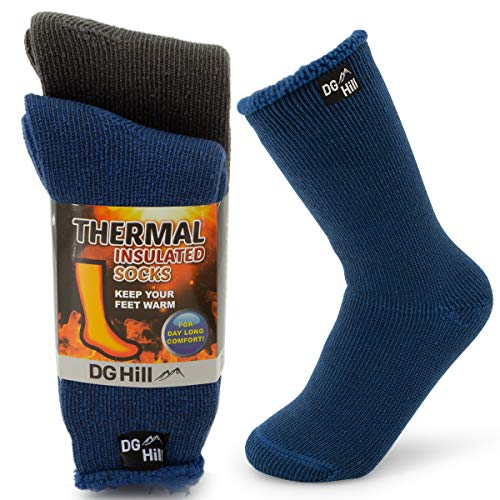 DG Hill (2 Pair) Kid's Thermal Socks Thick Heat Trapping Insulated Boot Sock