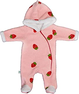 Baby Shoora fur baby bodysuit embroidered strawberry for girls pink3-6Month