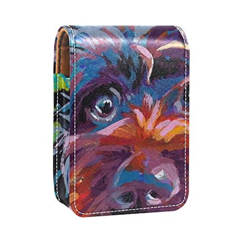 OLEEKA Almacenamiento de Organizador de cosméticos,con Espejo,Mini Caja de Almacenamiento de lápiz Labial portátil de Viaje de Cuero