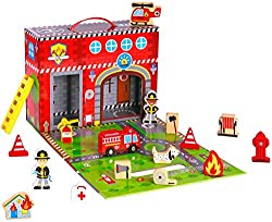 Image: Pidoko Kids Fire Station Toy - 19 Pcs Play Set - Magnetic Portable Box - Easy Storage - Perfect Toy Gift Set for Boys and Girls - 3 Year Old and Up - Wooden Accessories
