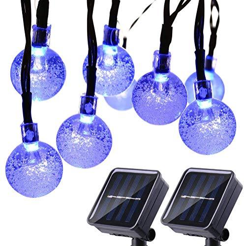 HONGLONG 2 Pack Globe Solar String Lights, 20ft 30 LED Outdoor Bulb String Lights,Waterproof 8 Modes Solar Patio Lights for Patio, Garden, Gazebo, Yard, Outdoors (Blue)