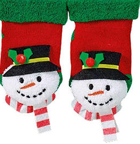 """socksPur Erstlings-Rassel-Söckchen """"Weihnachten"""" mit rutschhemmendem ABS-Druck 1 Paar (SCHNEEMANN, ca.0-12 Monate)"""