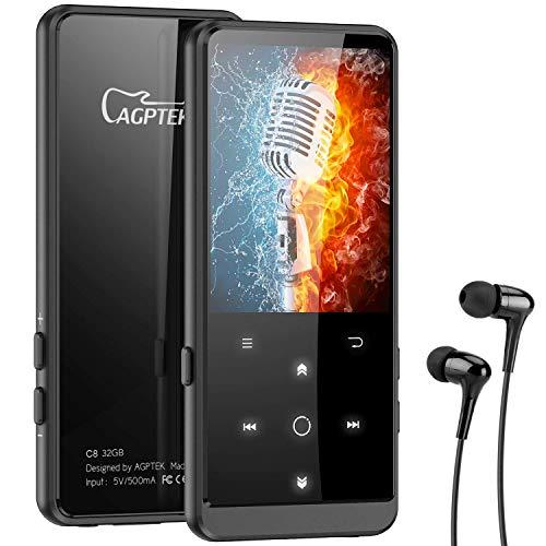 AGPTEK MP3 Player, 32GB Bluetooth 4.2 MP3 Player mit Kopfhörer, 2.4 Zoll TFT Bildschirm, FM, FM-Record,Schrittzähler, HiFi, Zufallswiedergabe, Schwarz