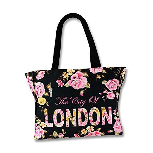 LONDON Blumen Schultertasche Henkeltasche schwarz pink Canvas Robin Ruth D4OTG205S Schultertasche präsentiert von IMPPAC