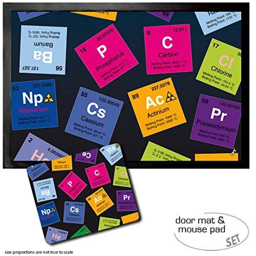 1art1 Periodensystem Der Elemente, Kohlenstoff, Barium, Brom, Radium, In Englisch Fußmatte Türmatte (60x40 cm) + Mauspad (23x19 cm) Geschenkset