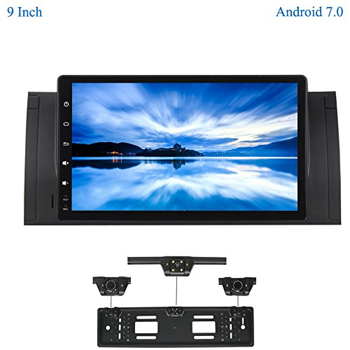 XISEDO Android 7.1 Car Stereo 9 Inch Autoradio 1 Din Head Unit RAM 2G Sat Nav GPS Navigation with 1024 * 600 Touch Screen for BMW 5-E39/BMW X5-E53 (with UK/EU License Plate Frame)