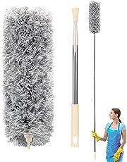 Plumero de Limpieza, Plumas Plumero de Microfibra atrapapolvo Extensible, Limpieza de Ventiladores de Techo Alto, persianas, telaraña, Coche, Casa, Oficina, Techo.