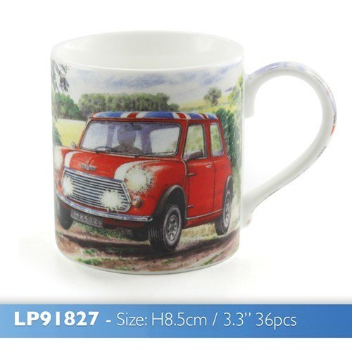Maurice In His Mini Fine Art Watercolour China Mini Cooper with Union Jack roof Gift Mug by GD Publishing