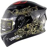 SM-960, casco integrale da moto da uomo, con visiera solare, casco integrale per bambini, omologato ECE (oro, M)