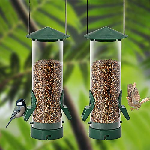 Twinkle Star Classic Tube Bird Feeder, Outdoor Hanging Bird Feeder with Metal Handle for Garden Yard Tree, Combinable & Extensible (17.5 oz / 2 Pack)