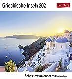 Sehnsuchtskalender Griechische Inseln - Kalender 2021 - Harenberg-Verlag - Postkartenkalender mit 53 heraustrennbaren Postkarten - 15,8 cm x 18 cm