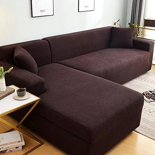 Protector Cubierta para sofá 2 plazas y 3 plazas, juego de funda de sofá de esquina de color sólido para sala de estar, fundas de sofá elásticas, toalla de sofá elástica, sofá en forma de L
