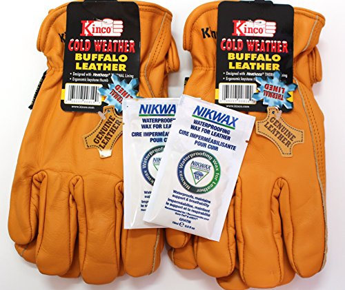 Kinco - Buffalo Leather, Cold Weather, Waterproof Winter Work Gloves for Men - 2 Pack with Nikwax Waterproofing and Thermal Lining (Medium)
