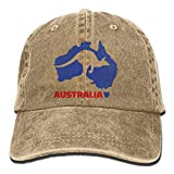 Hoswee Unisex Kappe/Baseballkappe, Australia Kangaroo Denim Hat Adjustable Mens Flag Baseball Cap