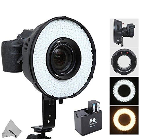 Fomito Portable LED Makro Ring Blitzlicht DVR-240 DF 3200k-6500k für Canon Nikon Sony Pentax DSLR Kameras + MV-AD1 Ersatz Akku-Box Adapter für Sony...