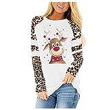 HJFR 2021 - Camiseta de manga larga para mujer, informal, cuello redondo, estampado de ciervos y mangas de leopardo Blanc12 XL