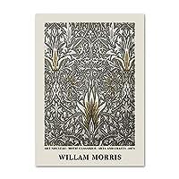 ウィリアムモリスポスターとプリント花パターン壁アートヴィンテージキャンバス絵画抽象的な写真リビングルームモダンな装飾40x60cmx1フレームなし