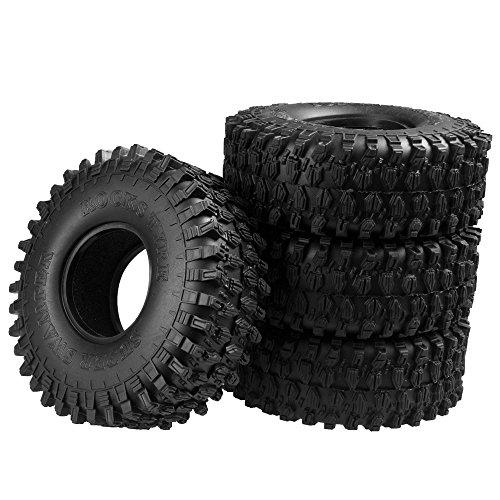 XUNJIAJIE 4 Stück 1.9inch 120mm RC Reifen Gummi Pneu Tires Tyre für 1/10 Crawler Auto Axial SCX10