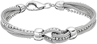 Parade of Jewels Sterling Silver Mesh Multi Strand Bracelet (7.5 inches)