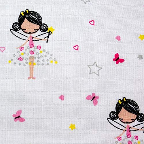 Tela de muselina por metros, a partir de 0,50 m, tela de mueslin, pañal de gasa, 160 cm de ancho, algodón (princesa)