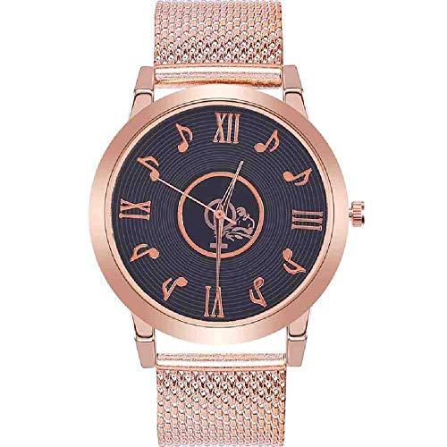 DSNGZ Reloj de Pulsera Reloj de Nota Musical de diseño para Mujer Reloj de Pulsera de Cuarzo de Acero Inoxidable con Correa de Aluminio para Mujer Relojes Casuales creativos