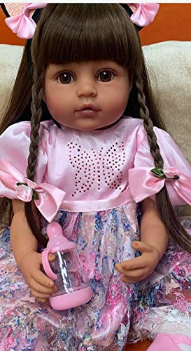 Lifelike Reborn Baby Dolls Silicone Full Body African American 22 inches Realistic Black Girl Biracial Reborn Toddler Doll Waterproof Long Hair with Beautiful Pink Outfit Accessories for Kids