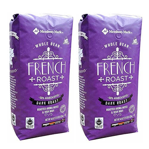 Member's Mark Fair Trade Certified French Roast Coffee, Whole Bean, 2.5 Pound (Pack of 2)