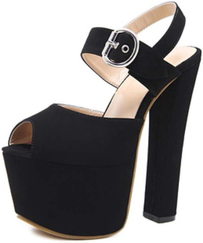 Btrada Women Platform Super High Heel Open Toe Platform Sandals Fashion Thick Heel Sexy High Heels Pumps shoes