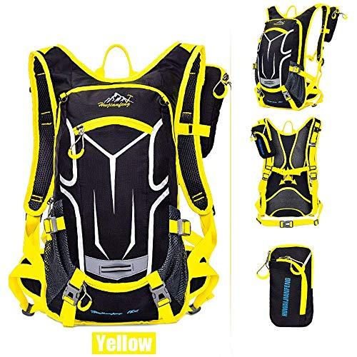 Sac à dos de vélo 18L, sac à dos durable et respirant, imperméable et anti-vol, pour le voyage en plein air, contenant des poches multifonctions, pour la course à pied et la randonnée.Etc,Jaune