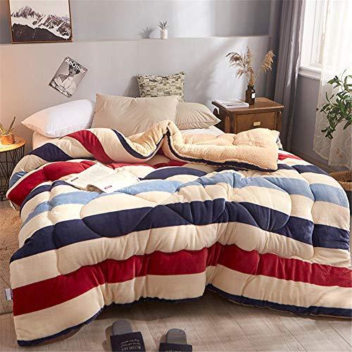 Atack-B - Edredón de invierno de tela de terciopelo de cordero, núcleo relleno de fibra de algodón, doble cara, transpirable, para uso doméstico y regalos (Stripe, 150*200cm 2.5kg)
