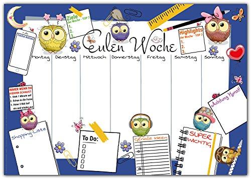 Schreibtischunterlage EULEN WOCHE zum Abreißen aus Papier - DIN A3 Schreibunterlage mit Wochenplaner, Tages-Plan, To-Do Liste, Shopping-Liste - 25 Blatt Abreißblock für Kinder und Erwachsene in Blau